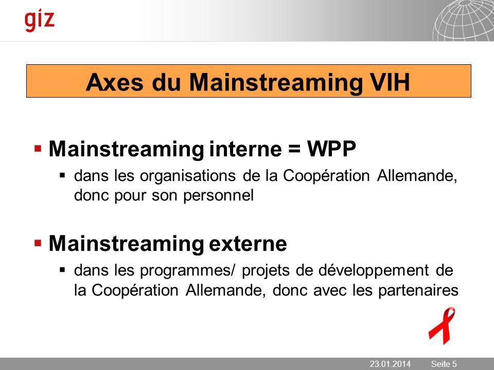 23.01.2014 Seite 5 Seite 5 Axes du Mainstreaming VIH Mainstreaming interne = WPP dans les organisations de la Coopération Allemande, donc pour son per