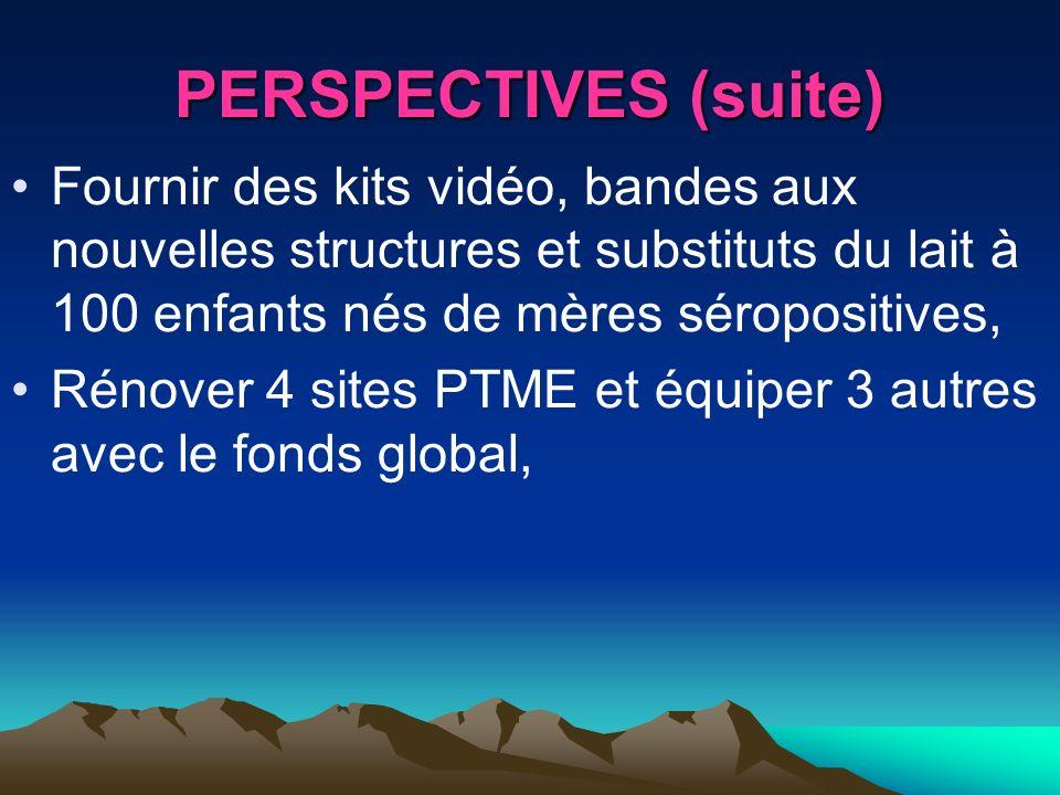 PERSPECTIVES (suite) Fournir des kits vidéo, bandes aux nouvelles structures et substituts du lait à 100 enfants nés de mères séropositives, Rénover 4
