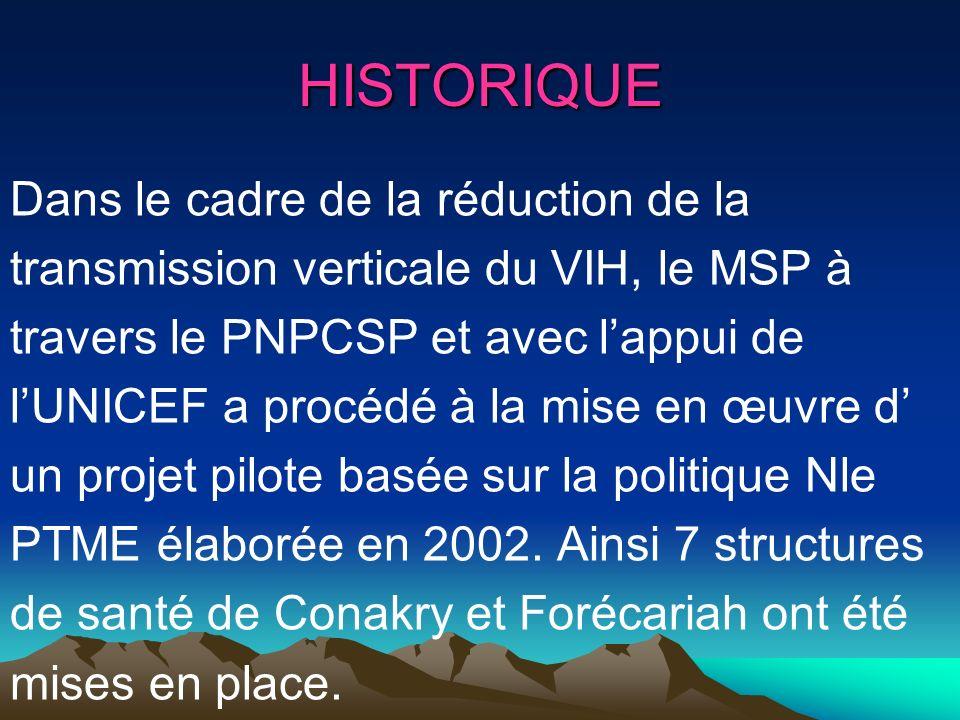 OBJECTIF GENERAL Réduire dici fin 2007 de 20% la Transmission mère enfant du VIH OBJECTIF INTERMEDIAIRE Doter dici fin 2007, 100% des structures de santé des villes de Conakry et de NZérékoré des capacités doffrir des services PTME