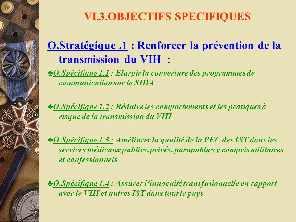 VI.3.OBJECTIFS SPECIFIQUES O.Stratégique.1 : Renforcer la prévention de la transmission du VIH : O.Spécifique 1.1 : Elargir la couverture des programm