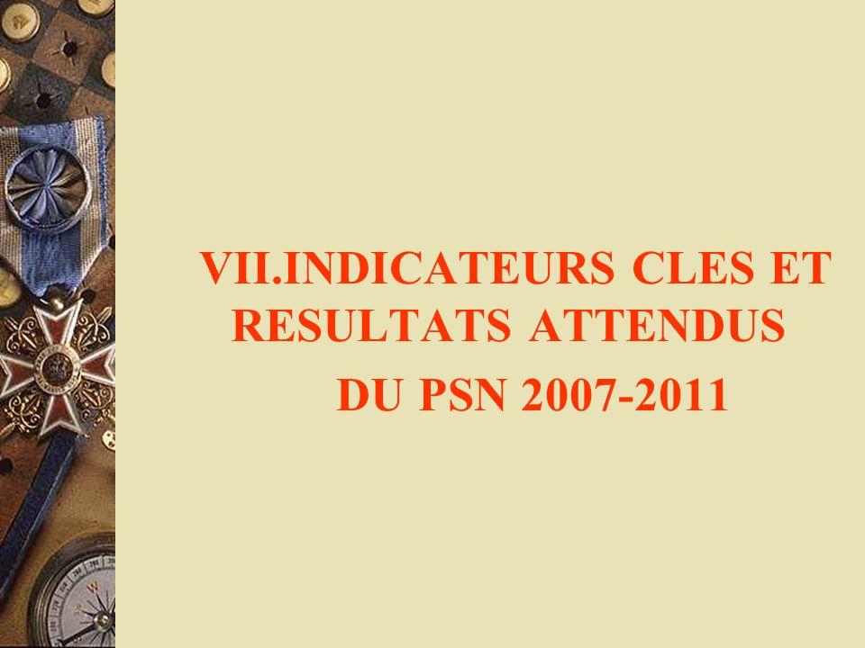VII.INDICATEURS CLES ET RESULTATS ATTENDUS DU PSN 2007-2011