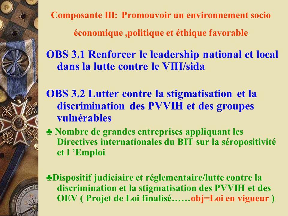 Composante III: Promouvoir un environnement socio économique,politique et éthique favorable OBS 3.1 Renforcer le leadership national et local dans la