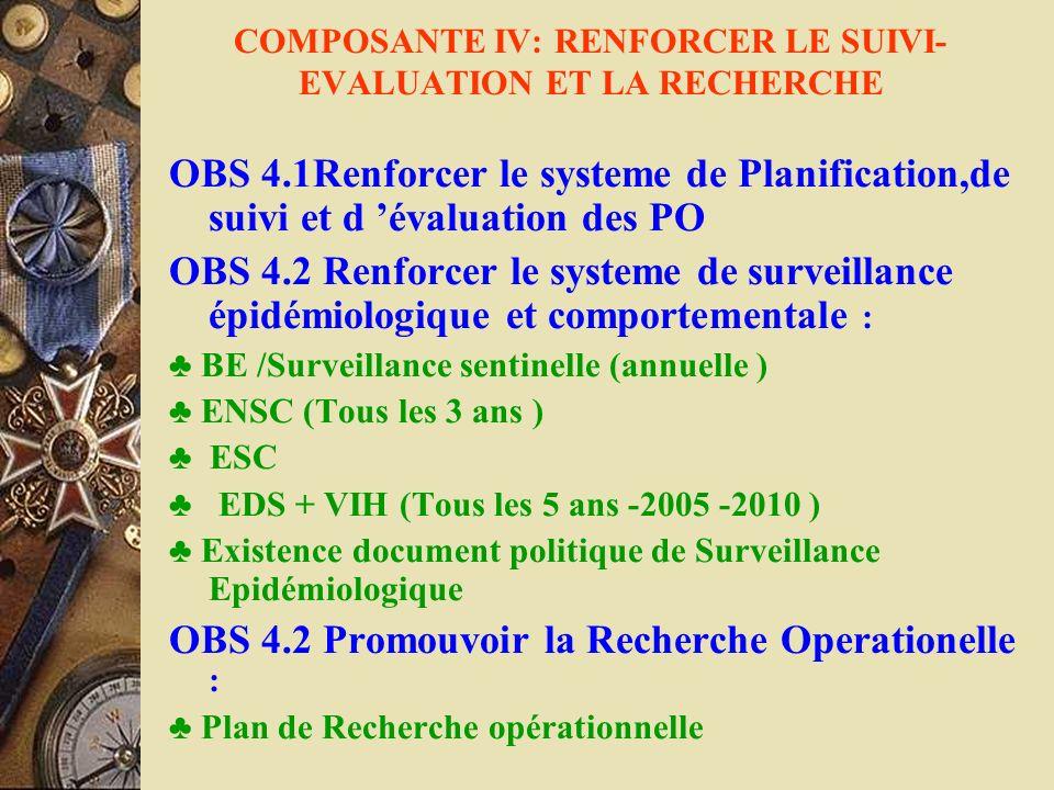COMPOSANTE IV: RENFORCER LE SUIVI- EVALUATION ET LA RECHERCHE OBS 4.1Renforcer le systeme de Planification,de suivi et d évaluation des PO OBS 4.2 Ren