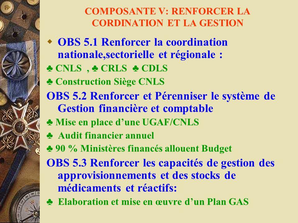 COMPOSANTE V: RENFORCER LA CORDINATION ET LA GESTION OBS 5.1 Renforcer la coordination nationale,sectorielle et régionale : CNLS, CRLS CDLS Constructi