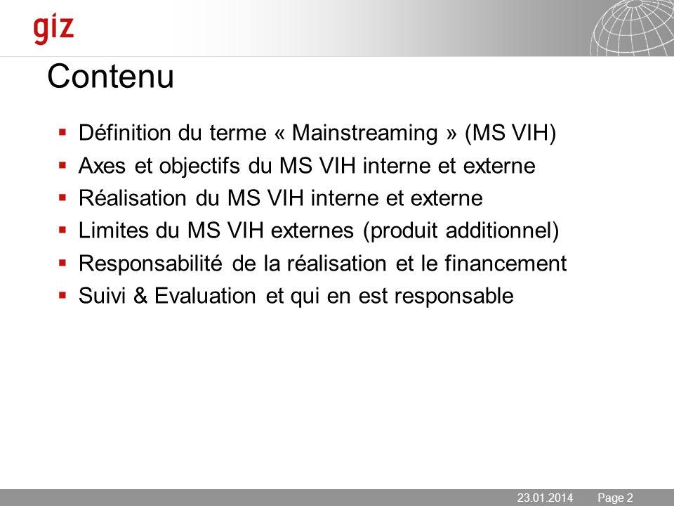 23.01.2014 Seite 2 Page 223.01.2014 Définition du terme « Mainstreaming » (MS VIH) Axes et objectifs du MS VIH interne et externe Réalisation du MS VI