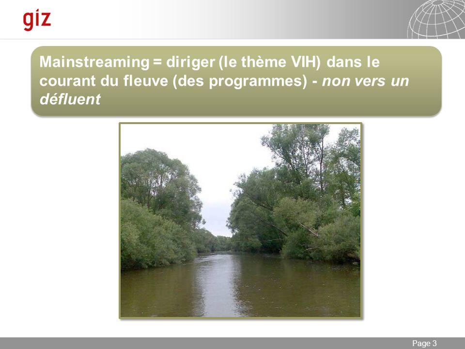 23.01.2014 Seite 3 Page 3 Mainstreaming = diriger (le thème VIH) dans le courant du fleuve (des programmes) - non vers un défluent