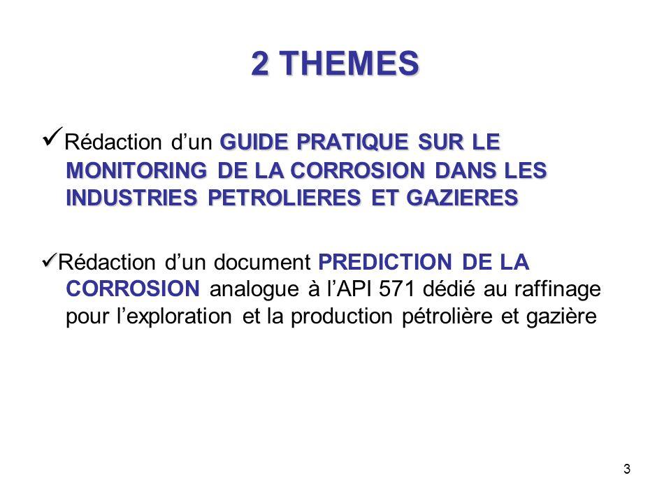 3 2 THEMES GUIDE PRATIQUE SUR LE MONITORING DE LA CORROSION DANS LES INDUSTRIES PETROLIERES ET GAZIERES Rédaction dun GUIDE PRATIQUE SUR LE MONITORING