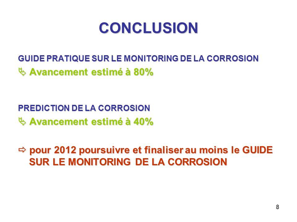 8 CONCLUSION GUIDE PRATIQUE SUR LE MONITORING DE LA CORROSION Avancement estimé à 80% Avancement estimé à 80% PREDICTION DE LA CORROSION Avancement es