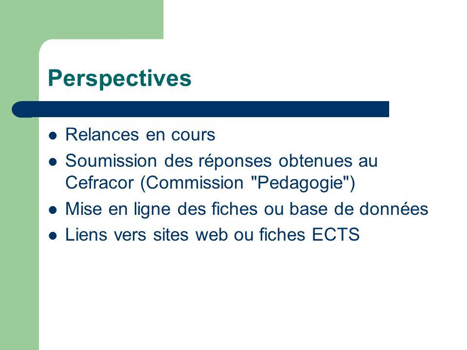 Perspectives Relances en cours Soumission des réponses obtenues au Cefracor (Commission