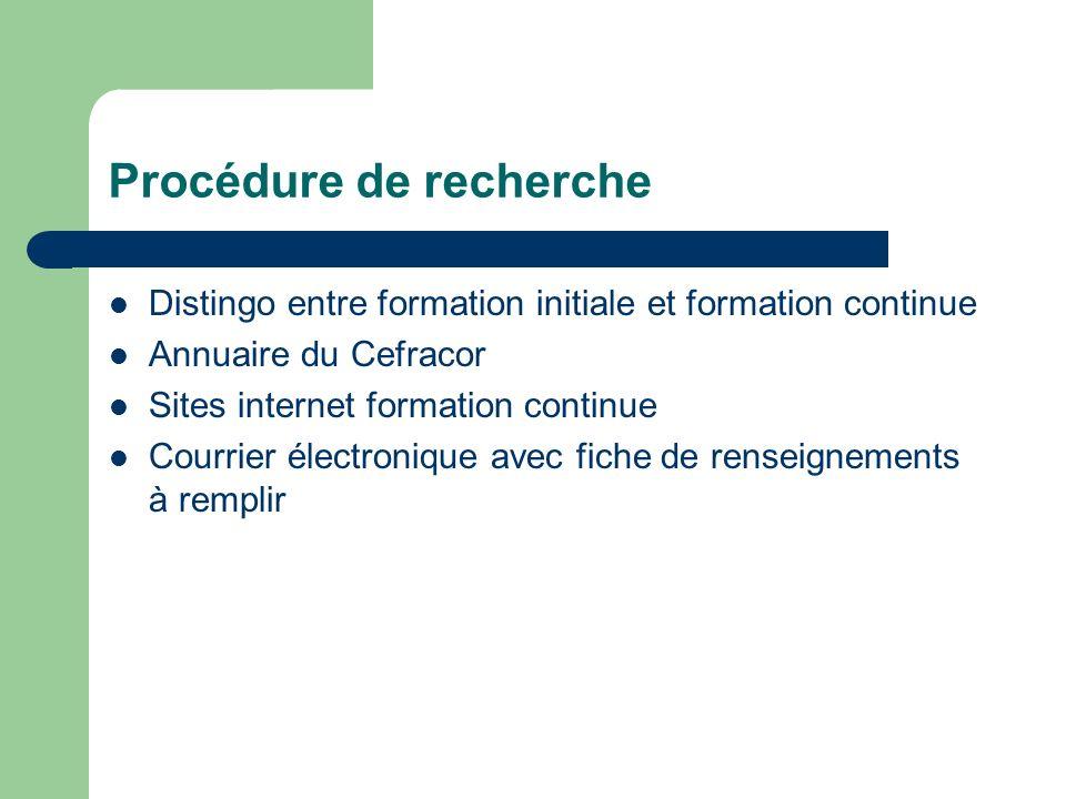 Procédure de recherche Distingo entre formation initiale et formation continue Annuaire du Cefracor Sites internet formation continue Courrier électro