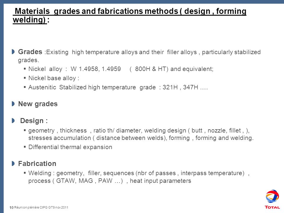Réunion plénière CIPG GT9 nov 2011 Materials grades and fabrications methods ( design, forming welding) : Grades :Existing high temperature alloys and