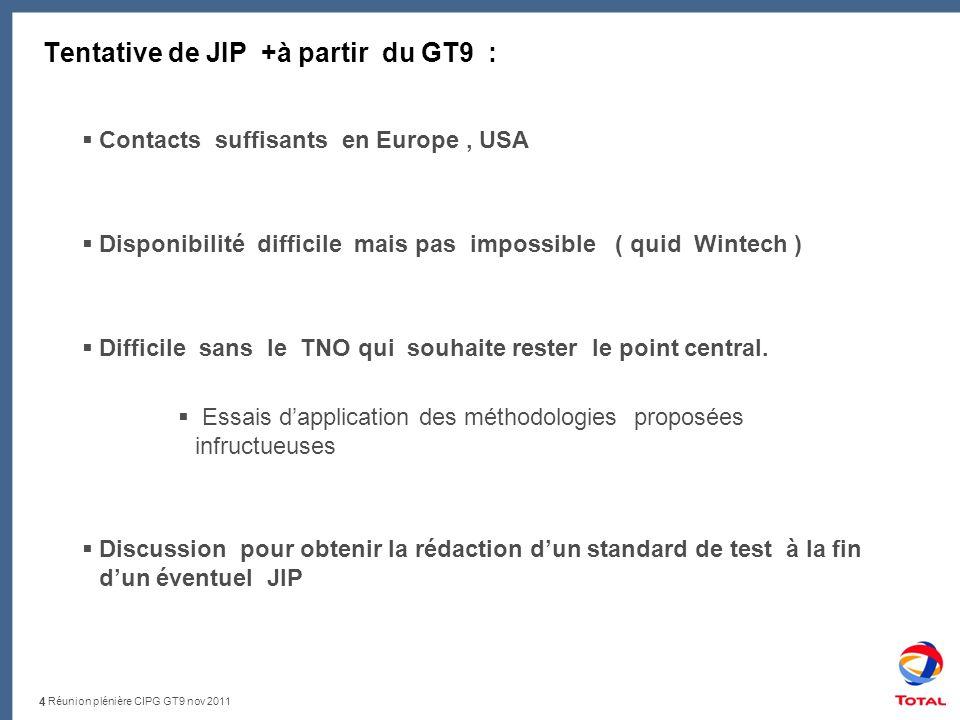 Réunion plénière CIPG GT9 nov 2011 Tentative de JIP +à partir du GT9 : 4 Contacts suffisants en Europe, USA Disponibilité difficile mais pas impossible ( quid Wintech ) Difficile sans le TNO qui souhaite rester le point central.
