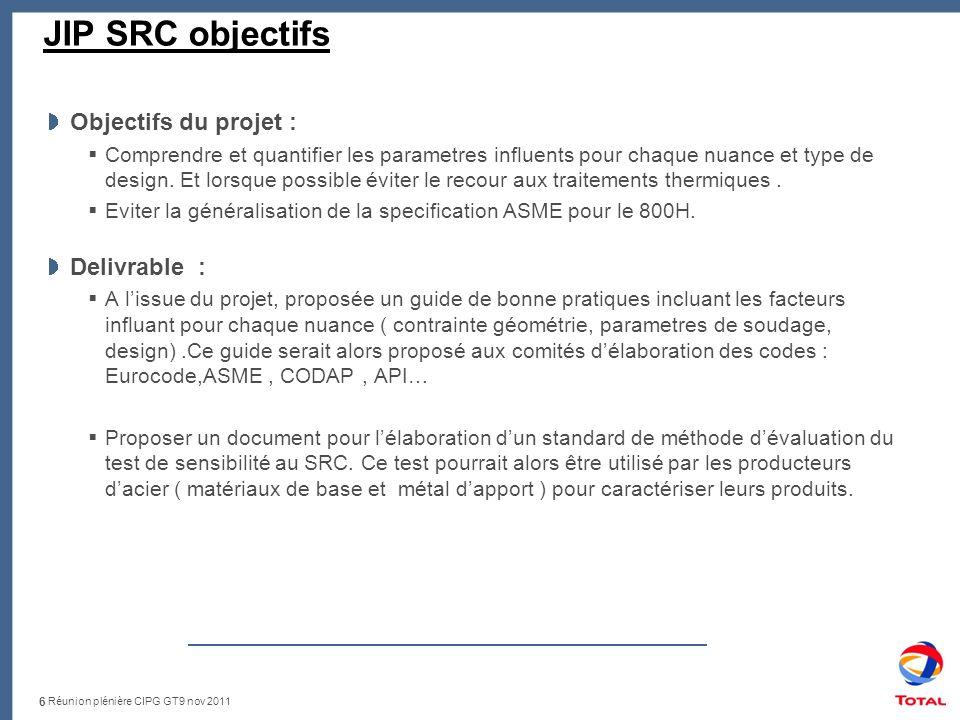 Réunion plénière CIPG GT9 nov 2011 JIP SRC objectifs Objectifs du projet : Comprendre et quantifier les parametres influents pour chaque nuance et type de design.