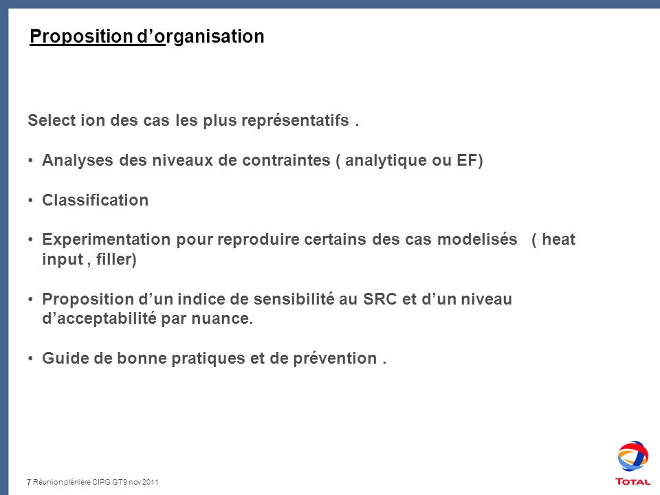 Réunion plénière CIPG GT9 nov 2011 Proposition TNO ( draft ) : Work Package 2: Physico-chemical and mechanical understanding Work Package 3: Alternative remediation strategies Work Package 4: Effect of heat treatment on creep life time.