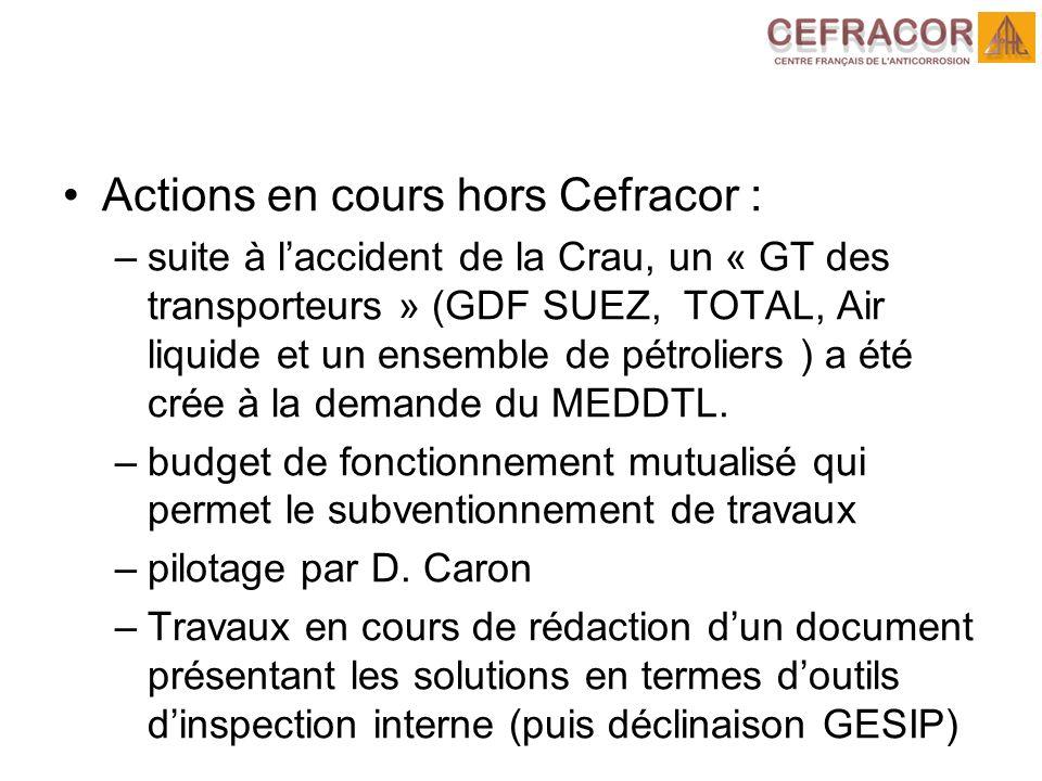 Actions en cours hors Cefracor : –suite à laccident de la Crau, un « GT des transporteurs » (GDF SUEZ, TOTAL, Air liquide et un ensemble de pétroliers