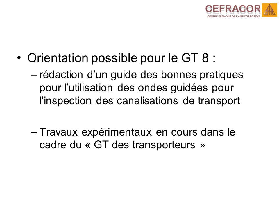 Orientation possible pour le GT 8 : –rédaction dun guide des bonnes pratiques pour lutilisation des ondes guidées pour linspection des canalisations d