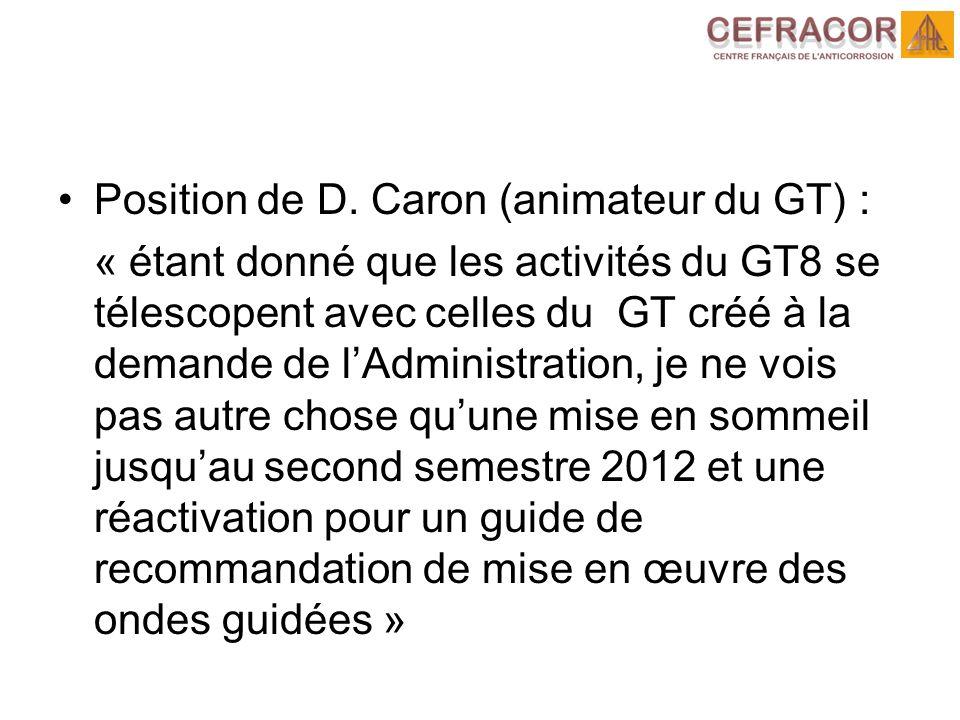 Position de D. Caron (animateur du GT) : « étant donné que les activités du GT8 se télescopent avec celles du GT créé à la demande de lAdministration,