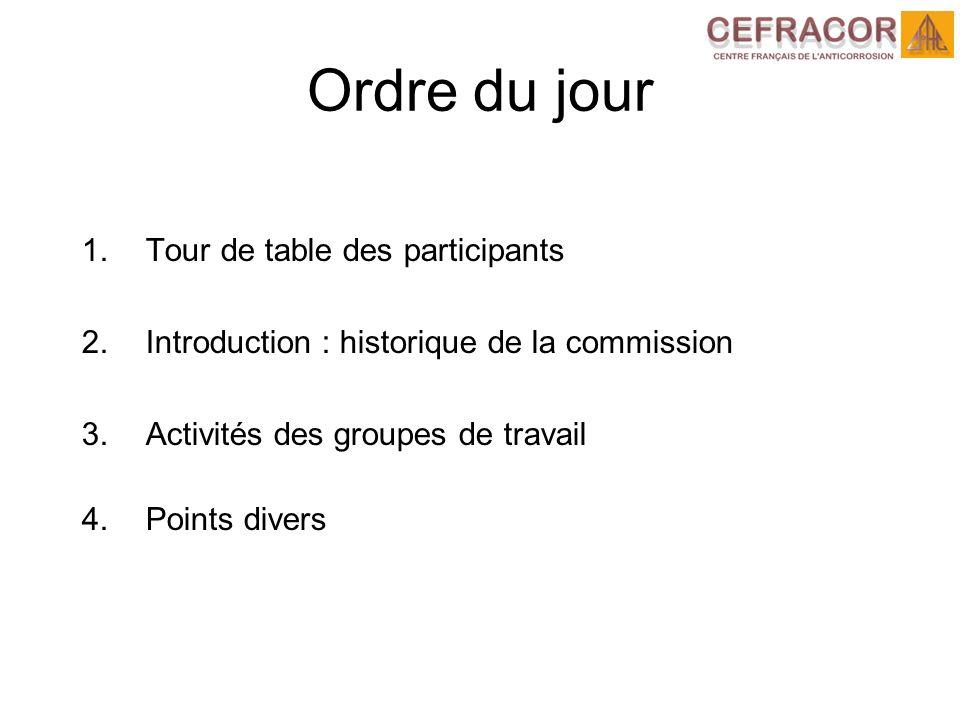 1.Tour de table des participants 2.Introduction : historique de la commission 3.Activités des groupes de travail 4.Points divers Ordre du jour