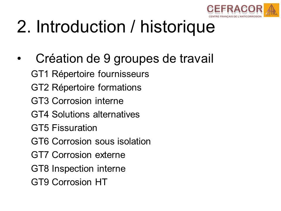 2. Introduction / historique Création de 9 groupes de travail GT1 Répertoire fournisseurs GT2 Répertoire formations GT3 Corrosion interne GT4 Solution