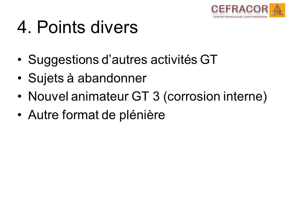 4. Points divers Suggestions dautres activités GT Sujets à abandonner Nouvel animateur GT 3 (corrosion interne) Autre format de plénière