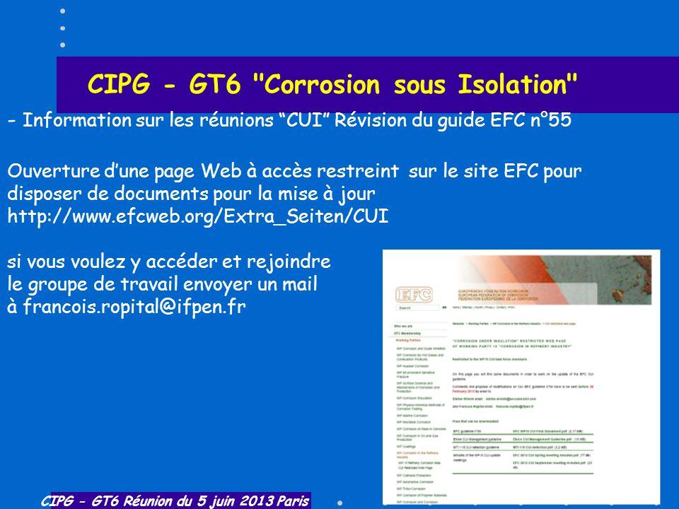 CIPG - GT6 Réunion du 5 juin 2013 Paris CIPG - GT6