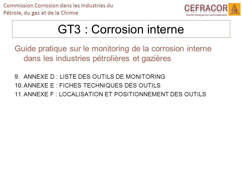 Commission Corrosion dans les Industries du Pétrole, du gaz et de la Chimie GT3 : Corrosion interne Guide pratique sur le monitoring de la corrosion i