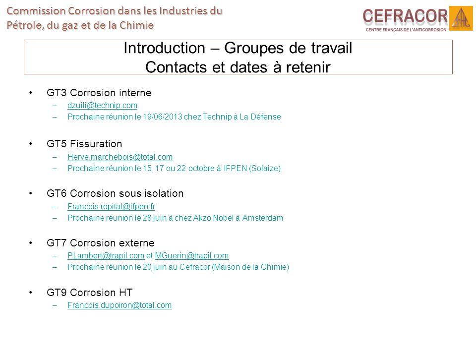 Commission Corrosion dans les Industries du Pétrole, du gaz et de la Chimie Introduction – Groupes de travail Contacts et dates à retenir GT3 Corrosio