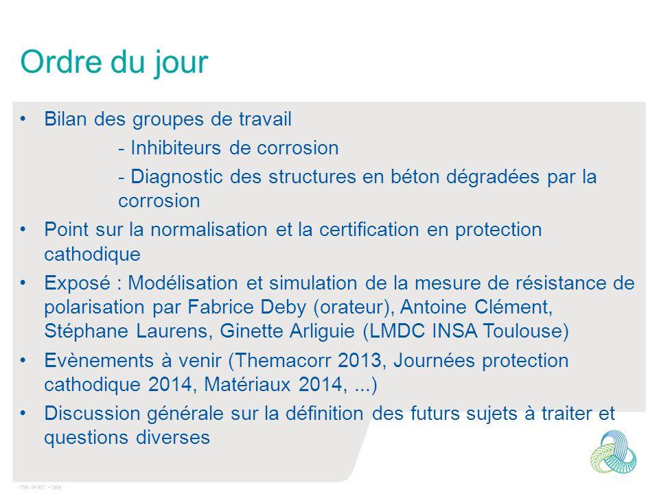 Intervenant - date Ordre du jour Bilan des groupes de travail - Inhibiteurs de corrosion - Diagnostic des structures en béton dégradées par la corrosi