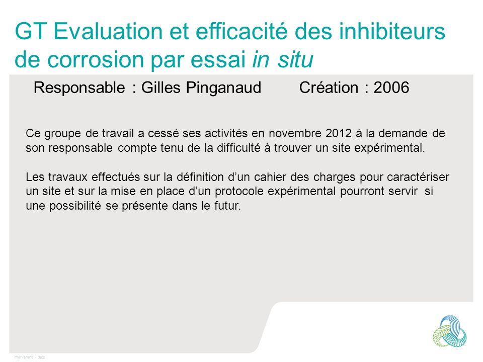 Intervenant - date GT Evaluation et efficacité des inhibiteurs de corrosion par essai in situ Responsable : Gilles Pinganaud Création : 2006 Ce groupe