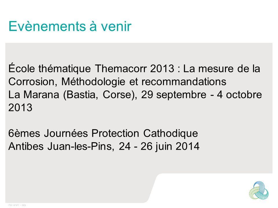 Intervenant - date Evènements à venir École thématique Themacorr 2013 : La mesure de la Corrosion, Méthodologie et recommandations La Marana (Bastia,