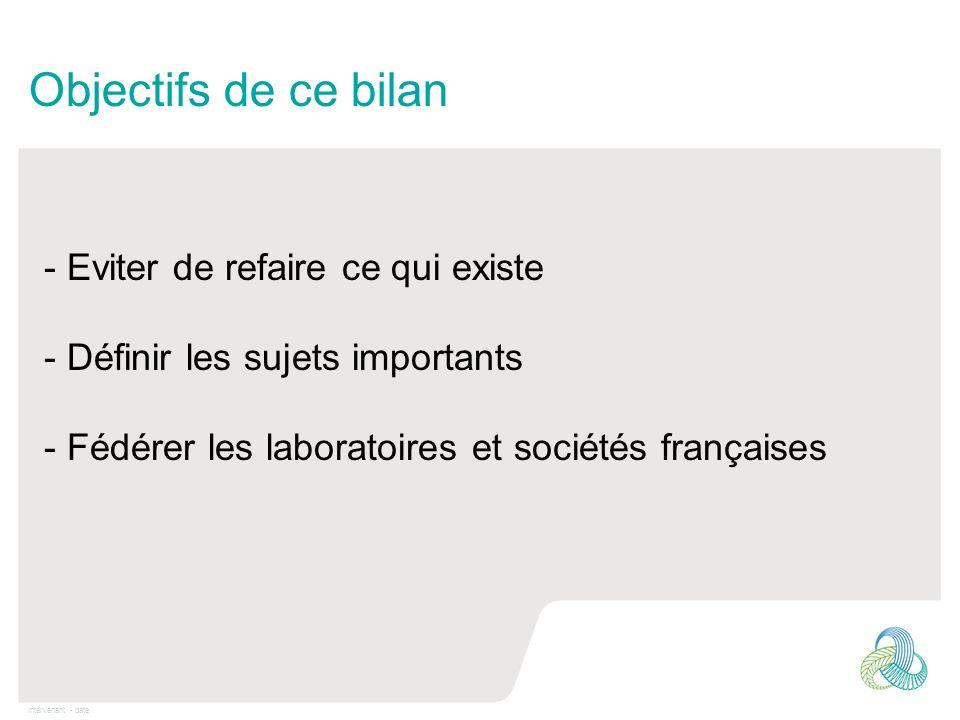 Intervenant - date Objectifs de ce bilan - Eviter de refaire ce qui existe - Définir les sujets importants - Fédérer les laboratoires et sociétés fran