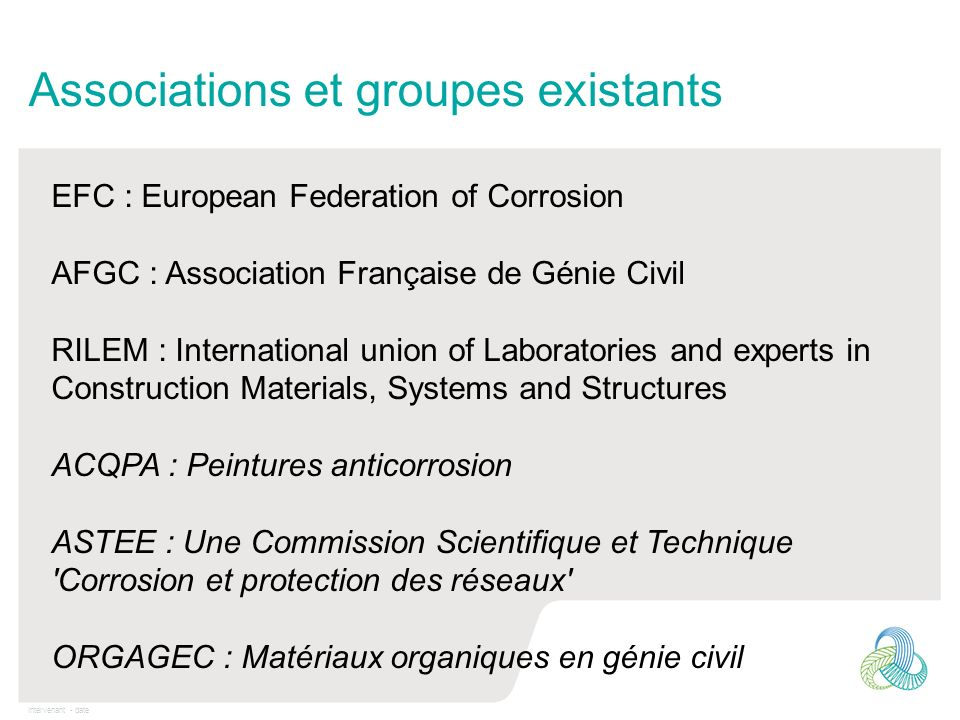 Intervenant - date Associations et groupes existants EFC : European Federation of Corrosion AFGC : Association Française de Génie Civil RILEM : Intern