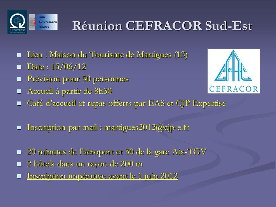 Réunion CEFRACOR Sud-Est Lieu : Maison du Tourisme de Martigues (13) Lieu : Maison du Tourisme de Martigues (13) Date : 15/06/12 Date : 15/06/12 Prévi