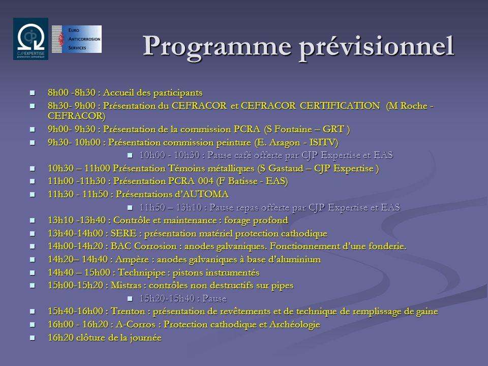 Programme prévisionnel 8h00 -8h30 : Accueil des participants 8h00 -8h30 : Accueil des participants 8h30- 9h00 : Présentation du CEFRACOR et CEFRACOR C