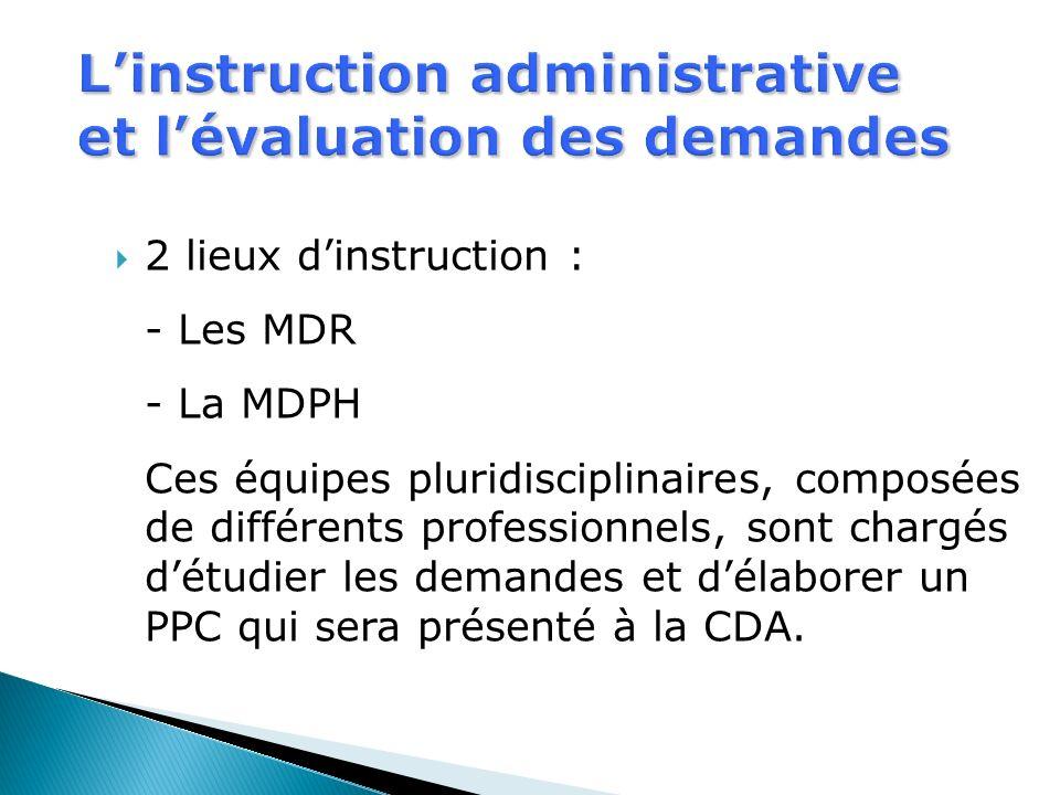 2 lieux dinstruction : - Les MDR - La MDPH Ces équipes pluridisciplinaires, composées de différents professionnels, sont chargés détudier les demandes