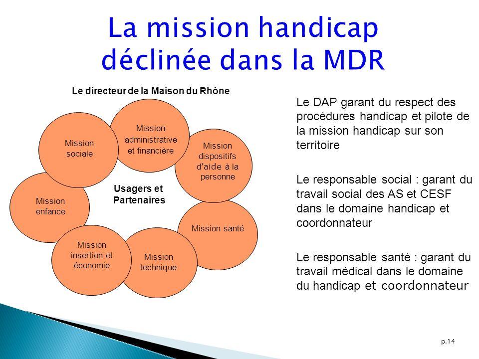 p.14 Le directeur de la Maison du Rhône Mission administrative et financière Mission dispositifs d aide à la personne Mission santé Mission technique