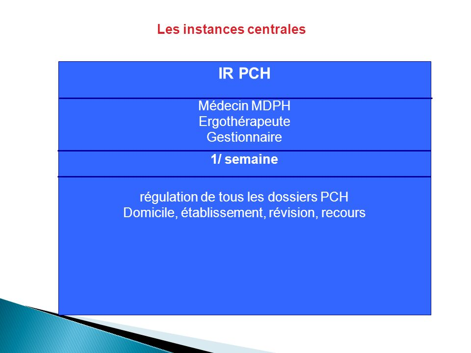 IR PCH Médecin MDPH Ergothérapeute Gestionnaire 1/ semaine régulation de tous les dossiers PCH Domicile, établissement, révision, recours Les instance