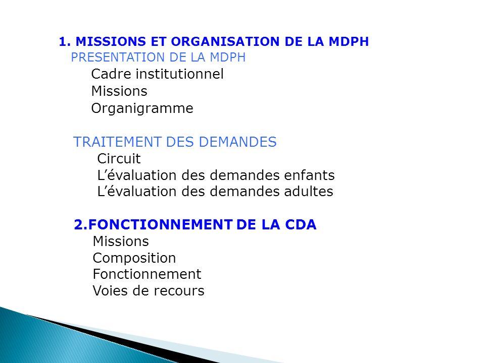 1. MISSIONS ET ORGANISATION DE LA MDPH PRESENTATION DE LA MDPH Cadre institutionnel Missions Organigramme TRAITEMENT DES DEMANDES Circuit Lévaluation