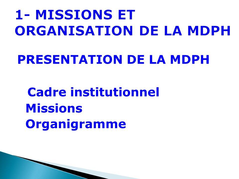1- MISSIONS ET ORGANISATION DE LA MDPH PRESENTATION DE LA MDPH Cadre institutionnel Missions Organigramme