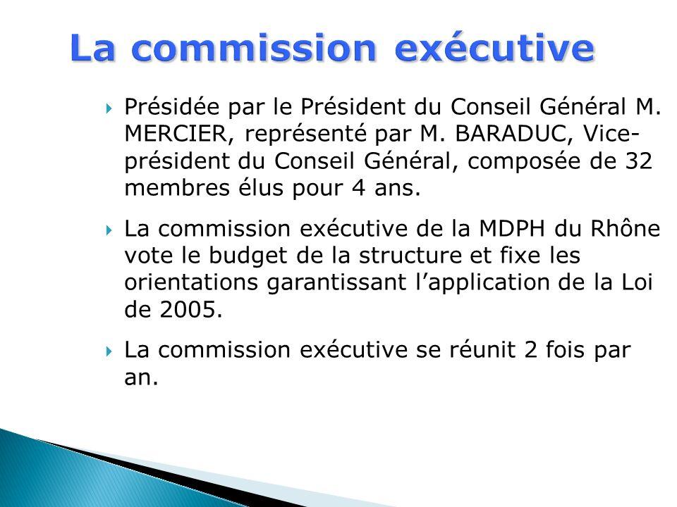 Présidée par le Président du Conseil Général M. MERCIER, représenté par M. BARADUC, Vice- président du Conseil Général, composée de 32 membres élus po