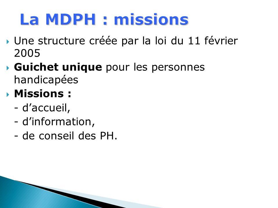 Une structure créée par la loi du 11 février 2005 Guichet unique pour les personnes handicapées Missions : - daccueil, - dinformation, - de conseil de