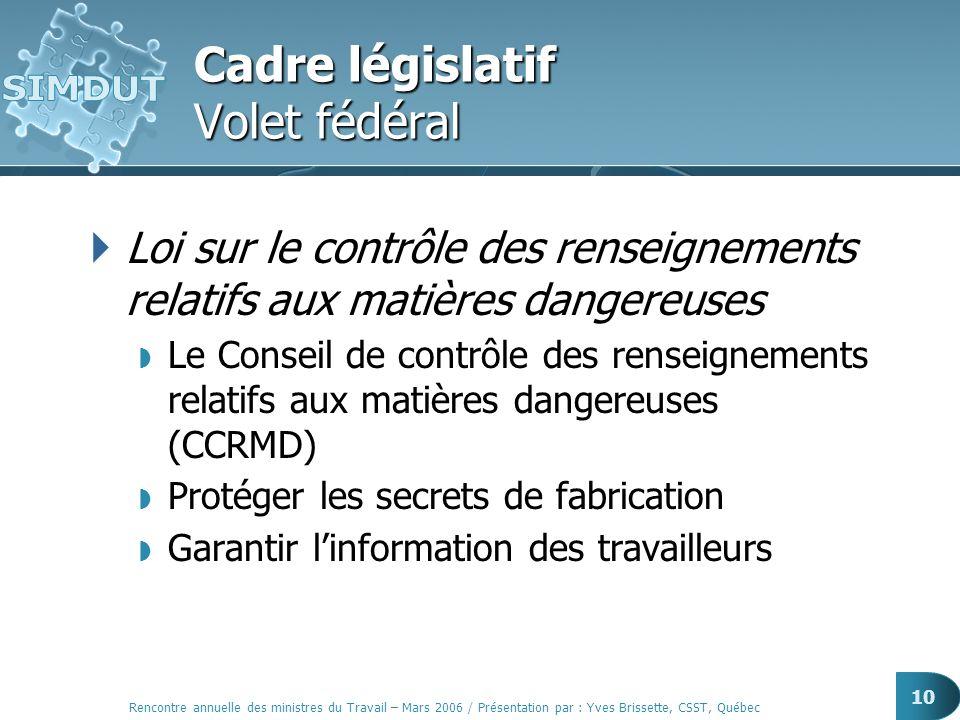 10 Cadre législatif Volet fédéral Loi sur le contrôle des renseignements relatifs aux matières dangereuses Le Conseil de contrôle des renseignements r