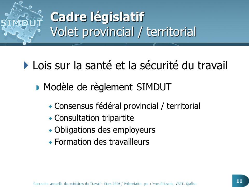 Rencontre annuelle des ministres du Travail – Mars 2006 / Présentation par : Yves Brissette, CSST, Québec 11 Cadre législatif Volet provincial / terri