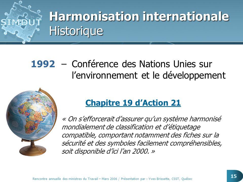 Rencontre annuelle des ministres du Travail – Mars 2006 / Présentation par : Yves Brissette, CSST, Québec 15 Harmonisation internationale Historique 1