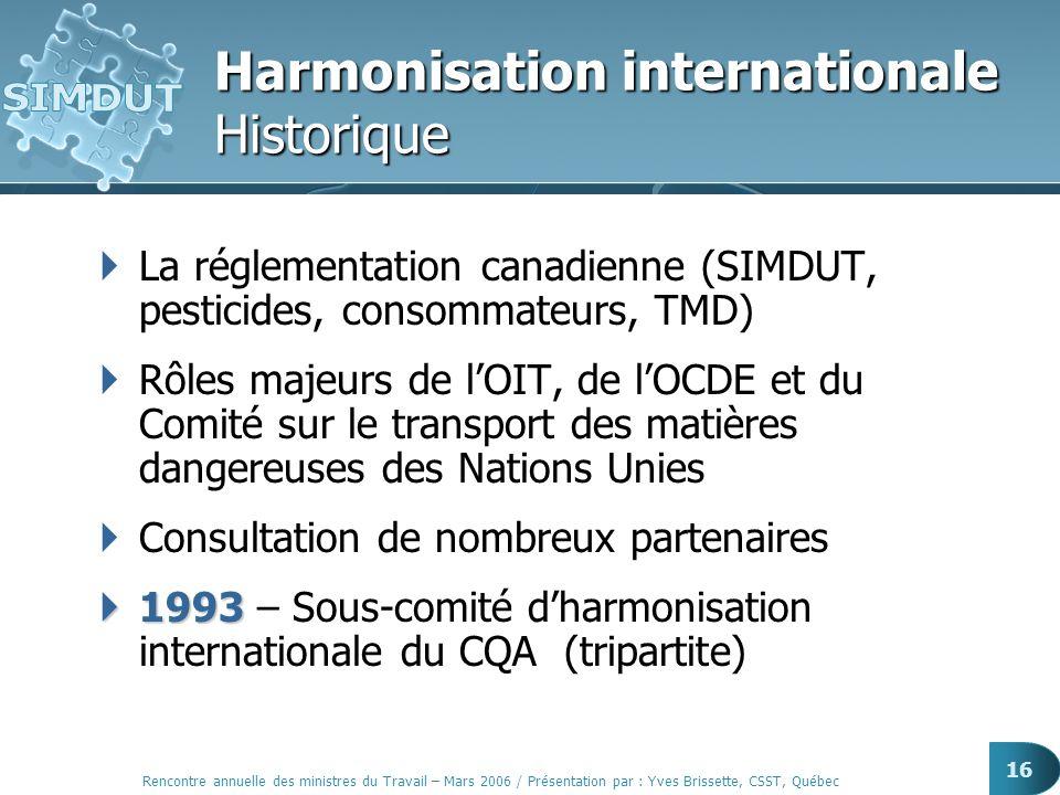 Rencontre annuelle des ministres du Travail – Mars 2006 / Présentation par : Yves Brissette, CSST, Québec 16 Harmonisation internationale Historique L