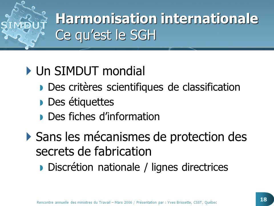Rencontre annuelle des ministres du Travail – Mars 2006 / Présentation par : Yves Brissette, CSST, Québec 18 Harmonisation internationale Ce quest le
