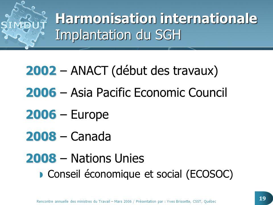 Rencontre annuelle des ministres du Travail – Mars 2006 / Présentation par : Yves Brissette, CSST, Québec 19 Harmonisation internationale Implantation