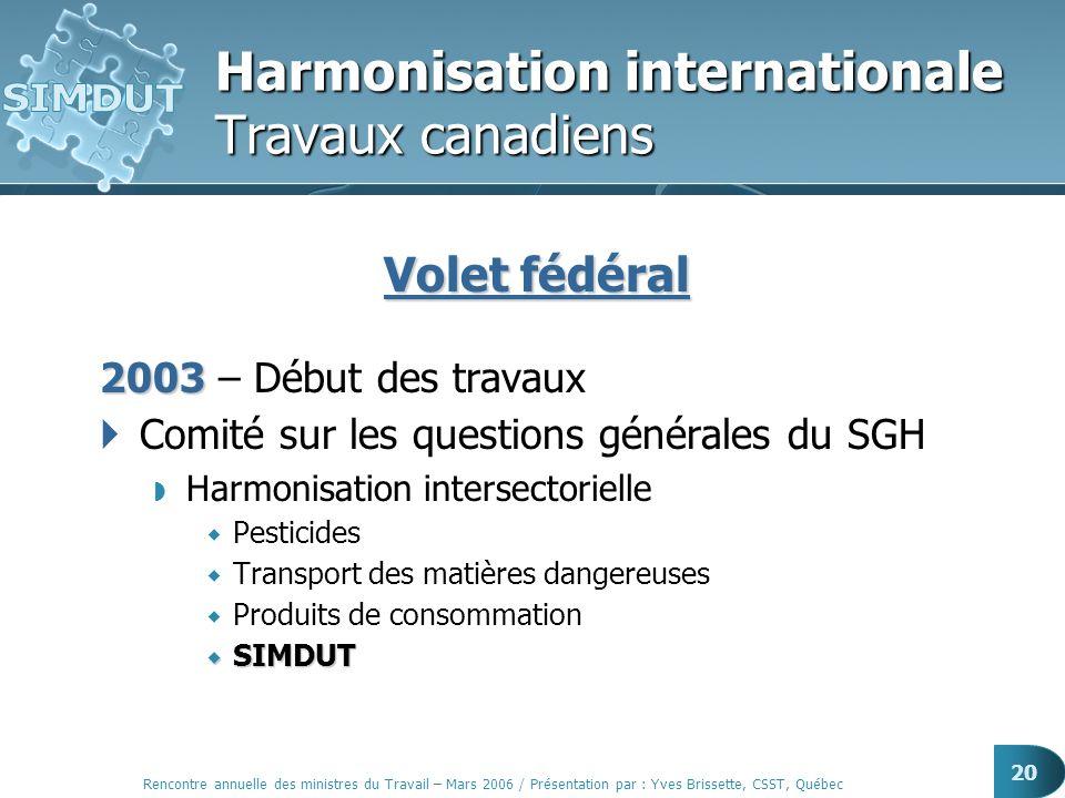 Rencontre annuelle des ministres du Travail – Mars 2006 / Présentation par : Yves Brissette, CSST, Québec 20 Harmonisation internationale Travaux cana