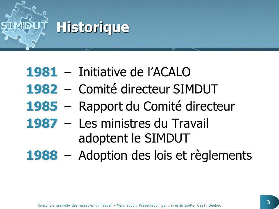 Rencontre annuelle des ministres du Travail – Mars 2006 / Présentation par : Yves Brissette, CSST, Québec 14 Cohérence nationale Lois et règlements Politiques et orientations Planification stratégique Questions techniques