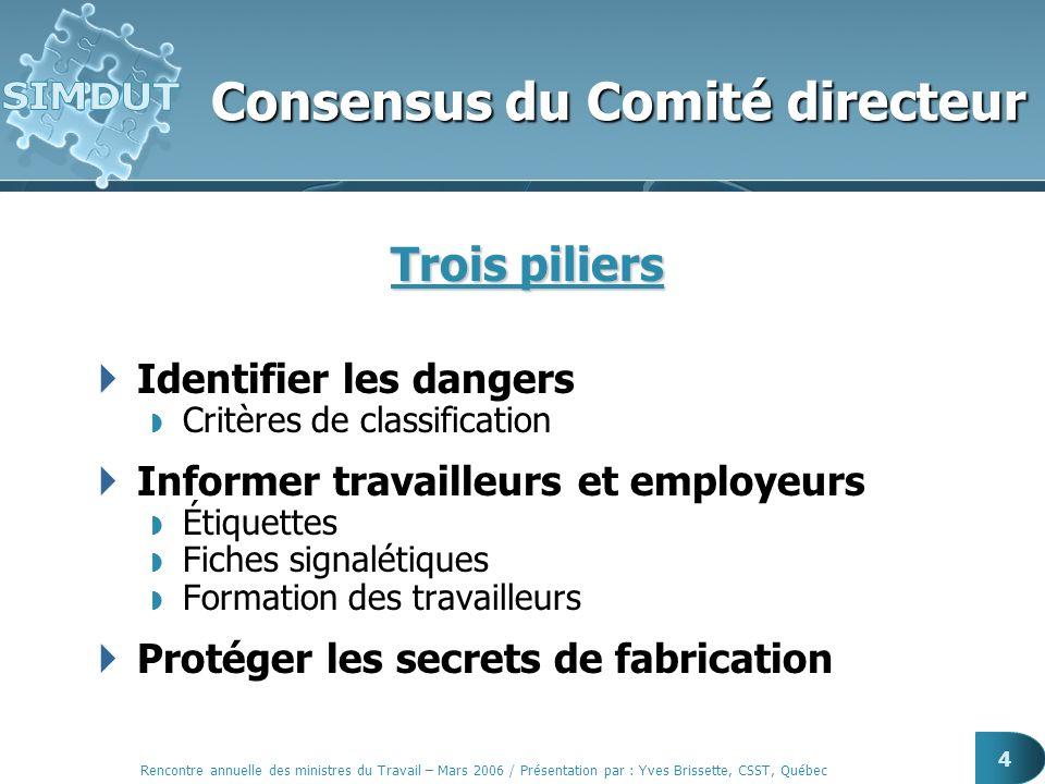 Rencontre annuelle des ministres du Travail – Mars 2006 / Présentation par : Yves Brissette, CSST, Québec 4 Consensus du Comité directeur Trois pilier